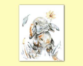 Bunny Print, Bunny Painting, Autumn Nursery, Rabbit Painting, Baby Gift, Woodland Nursery Art, Nursery Decor, Watercolor Nursery Print