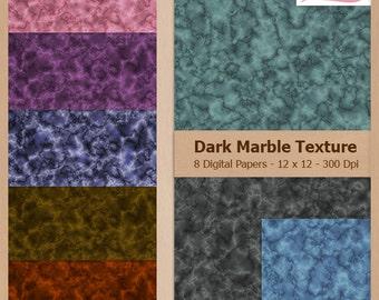 Digital Scrapbook Paper Pack - DARK MARBLE TEXTURE - Instant Download