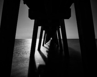 Dramatic Black and White Photography, Moonlight Pier, Dramatic Photo, Photo Drama, Moonlight Photo, Dramatic Wall Art, Modern Decor