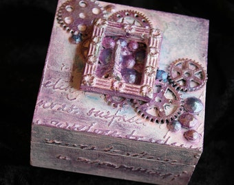 Wooden Vintage Steampunk Pink Handpainted Small Gift Box