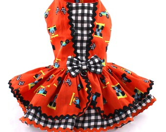 Dog Dress, Dog Harness Dress, Dog clothes for Small Dog, Ruffle Dress for Dogs, Summer Dress, Cotton Dress, Custom Dress, Race Car, Orange
