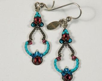 turquoise and fuschia Beaded Swarovski Crystal Vintage Style Drop Earrings