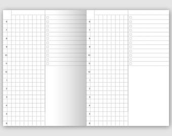 Passport Printable Traveler's Notebook Insert - Daily View Grid (Do1P) Day on 1 Page - Minimalist
