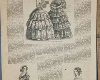 Fashions for the Month of March 1854. Spring Mantilla.Fashion of A Berthe.Origin of the Names of States.Large Antique Engraving, About 11x15
