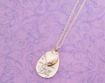 Rose Gold Memorial Tear Drop Pendant - Cremation Jewelry - Engraved Jewelry - Urn Necklace - Pet Memorial - Ash Necklace