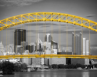 West End Frame Selective Color - Pittsburgh Bridge Summer Photo, Matted or Metal Print PGH Skyline Photograph Picture Art Print