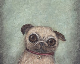 Pug art - giclee print, 8x10 fine art print, wall decor