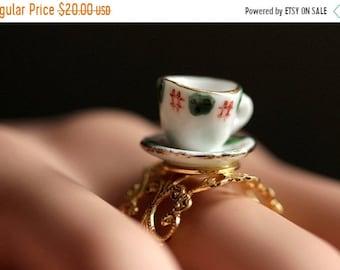 SUMMER SALE Porcelain Teacup Ring. Green and Red Tea Cup Ring. Gold Ring. Miniature Teacup Ring. Gold Filigree Adjustable Ring. Handmade Jew