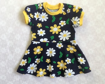 Flowers baby girl dress, organic baby dress, baby girl dress, girls dress, cotton dress, organic baby clothes, cotton baby clothes