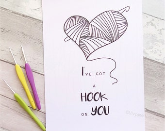 "Poster A4 ""I've got a hook on you"" • Gift for crocheter • Inspirational quote poster • Black and white poster • Graphic poster"