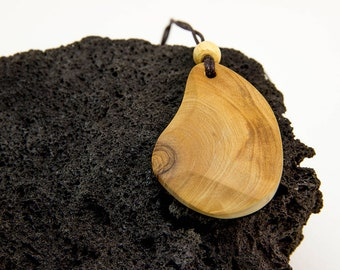 Olive wood necklace, wood jewelry