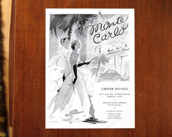 Vintage Monte Carlo Hotel de Paris poster print advertising black and white mid century