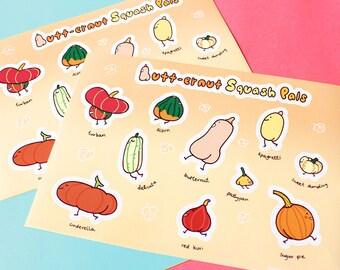 butt-ernut squash pals sticker sheet