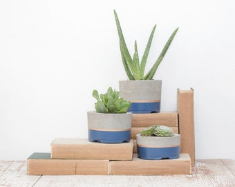Concrete Planters, Set of 3, Three-tier Concrete Pots, Succulent Planters