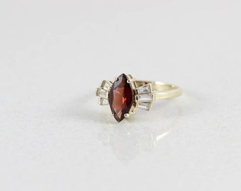 14k Yellow Gold Garnet with White Topaz Ring Size 8
