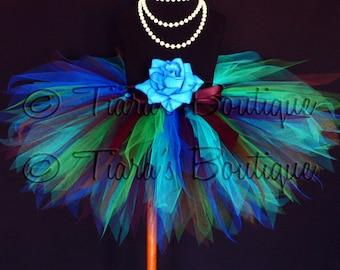 "Peacock Tutu Birthday, Blue Green Brown Purple, Exquisite Peacock, Custom Sewn 11"" Pixie Tutu, sizes newborn up to 5T, birthday girls tutu"