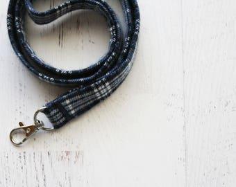 Plaid lanyard - blue ID lanyard - mens lanyard - key lanyard - gift idea for dad - badge holder lanyard - teachers lanyard - secret santa
