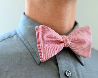 Men's Bow Tie in Red Pin Stripe- freestyle wedding groomsmen custom bowtie neck self tie cotton red white stripes pinstriped