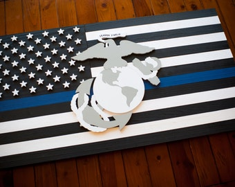 Thin Blue Line Wood Flag Thin Blue Line Flag Us Flag Police