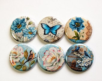 Floral magnets, Flower Magnets, Floral, Magnets, button magnets, Locker Magnets, Kitchen Magnets, stocking stuffer, Blue, Butterfly (4645)