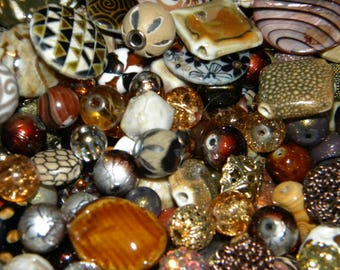 NEW Jesse James beads MIXED Destashed BROWNS 200/ component , Loose assorted random Picked beads