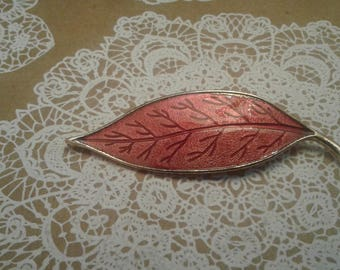 Red Guilloche Autumn Leaf Brooch