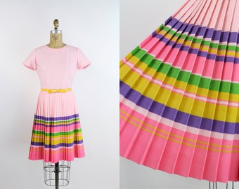 60s Pink Rainbow Pleated Dress / 1960s Dress / Colorful Dress / Rainbow Dress / Size XS/S
