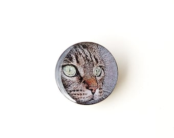 Cat Brooch, Cat Face Photo Brooch, Retro Vintage Style, Cat Jewellery, Resin Jewellery, Animal Jewellery, Gift for Pet Cat Lover, UK Seller