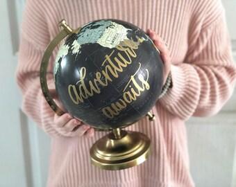 Painted Globe, Globe, World Globe, Wedding Globe, Desk Globe, Wedding Decor, Wedding Guestbook, Travel Decor, Custom Globe, Travel Wedding
