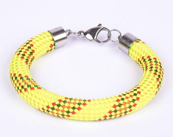 Clasp yellow climbing rope bracelet magnetic stainless steel