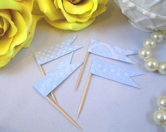 24 Blue and White Party Food Picks - Cupcake Picks - Flag Picks - Cupcake Toppers - Baby Shower - Bridal Shower - Birthday Party