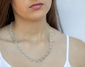 Sterling Silver Necklace - 925 Silver Necklace - Sterling Silver Link Necklace - Sterling Silver Chain Necklace - Gift for Her