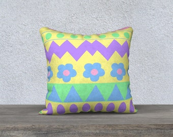 Yellow Easter Egg Pillow Cover