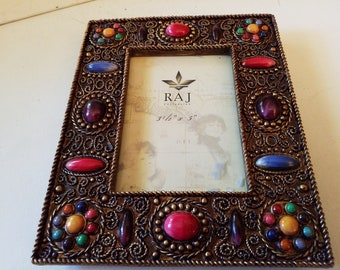 Pretty colorful picture frame with glass