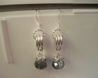 GORGEOUS Sterling Silver & Swarvoski Tanzanite Crystal Dangle Pierced Earring.....hand made OOAK...4232h....Bridal/Everday/Mother's Day
