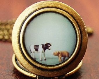 The Cow and The Pig  -Barn Animals Photo Locket Necklace