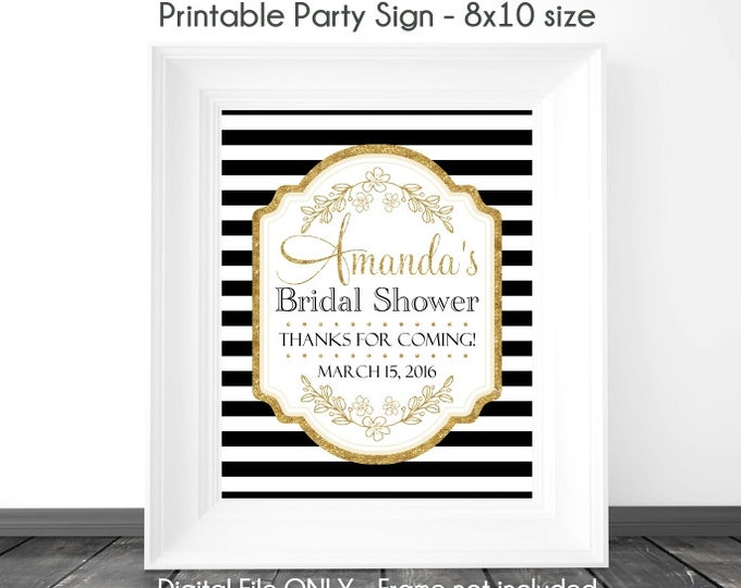 Bridal Shower Printable Sign, Black Stripe and Gold Printable Sign, Gold Accent with Black Wedding Shower Sign, 8x10, YOU PRINT