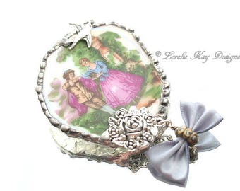 Courting Couple Broken China Brooch Renaissance Theme Soldered China Sweet Rose & Swallow Bird Broach Mother's  Day Gift