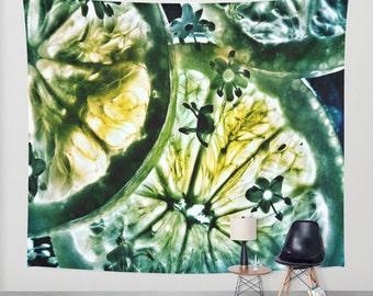 Lemon and Lime Wall Tapestry, Green Wall Art , Fine Art Photography, Modern, Nature, Botanical, Dorm, Office, Refreshing, Yellow, Fresh