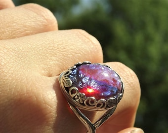Dragons Breath Opal Ring - Large Mexican Fire Opal Ring - Sterling Fire Opal Ring - Sterling Silver Dragons Breath - Sterling statement Ring