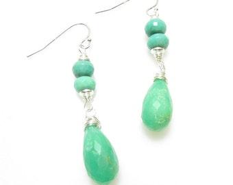 Chrysoprase Earrings, Sterling Wire Wrapped Jewelry, Gemstone, Green Dangles