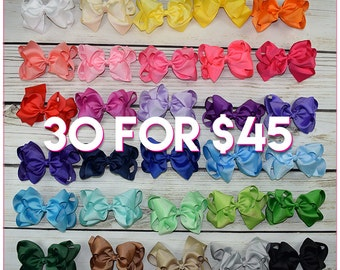 Hair Bows/6 inch/6 inch Double Stacked/30 colors-Simply Sweet-Large hair bow/Boutique bows/girl bows/ Large hair bow/Boutique bows/hair clip
