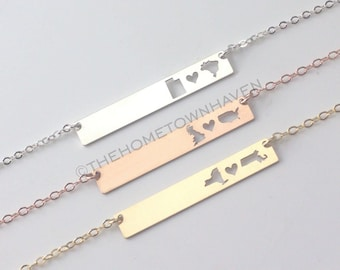 Long Distance Bar Necklace - Sterling Silver bar necklace, state necklace, friendship necklace