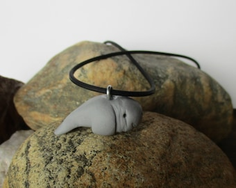 Manatee Necklace Manatee Pendant Necklace Gray Manatee Jewelry Manatee Gift Sea Cow Jewelry Beach Necklace Polymer Clay Manatee