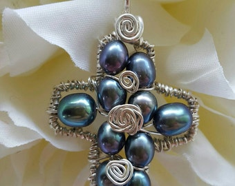Wire wrapped Sterling silver one-of-a-kind Small Peacock Pearl Cross Pendant