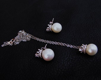 Bridal pearl necklace set,  white south sea shell pearl on silver crown pendant, silver chain necklace & earrings set