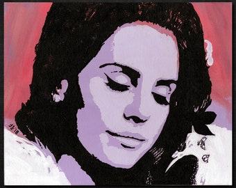 "Original LANA DEL REY Pop Art Painting - New, 8"" X 10""- Hand-painted artwork. Lizzy Grant. Ray. Ultraviolence Lust For Life Honeymoon Singer"