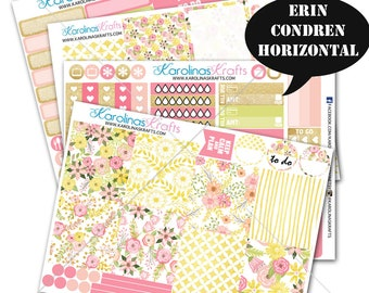 Pink Blush Gold Floral Stickers, Floral Planner Kit stickers 200+ Planner Stickers, for Erin Condren Horizontal Planner #SQ00662-ECH