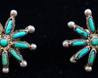 Lg Vintage Zuni 10 Stone Turquoise Snow Flake Screw Back Earrings - Item # 481R