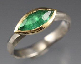 Rose Cut Emerald Chiseled Ring - Faceted Band